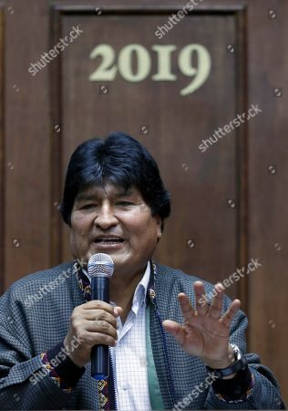 Bolivia's former President Evo Morales speaks during a press conference at the journalists club in Mexico City