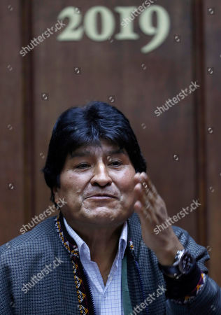 Bolivia's former President Evo Morales speaks during a press conference at the journalists' club in Mexico City