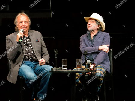 "Spanish songwriters and musicians Joan Manuel Serrat, left, and Joaquin Sabina, take part in a press conference promoting their tour: ""No hay dos sin tres,"" in Mexico City"