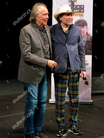 "Spanish songwriters and musicians Joan Manuel Serrat, left, and Joaquin Sabina, pose for photos during a press conference promoting their tour: ""No hay dos sin tres,"" in Mexico City"