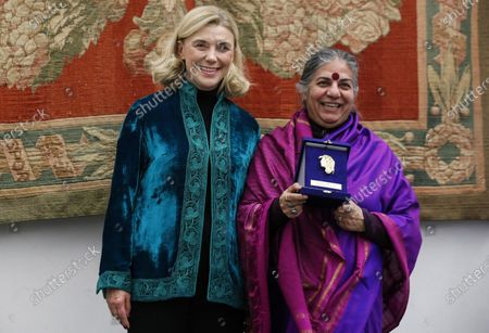Secretary General of the Italian Ministry of Foreign Affairs Elisabetta Belloni (L) with Indian environmental activist and food sovereignty, Vandana Shiva, during the ceremony of the Minerva Award - Anna Maria Mammoliti at the Capitoline Hill in Rome, Italy, 27 November 2019.