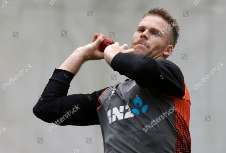 Stock Image of New Zealand's Lockie Ferguson bowls during a training session ahead of the second cricket test between England and New Zealand at Seddon Park in Hamilton, New Zealand