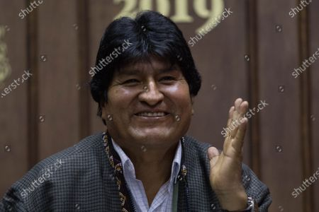 The former president of Bolivia Evo Morales, speaks during a press conference in Mexico City, Mexico, 27 November 2019. A day earlier, Evo Morales moved to a home in Mexico City from a military camp where he will no longer receive support from the Mexican government.