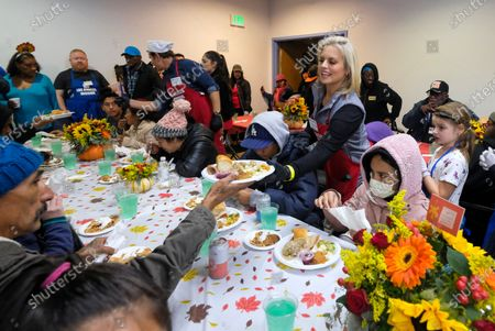 Editorial image of Homeless receive Thanksgiving meal, Los Angeles, USA - 27 Nov 2019