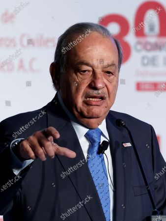 Stock Image of Mexican business magnate Carlos Slim speaks during the 30th National Civil Engineering Congress in Mexico City, Mexico, 27 November 2019. Slim announced that his companies Telmex and Telcel, leaders in the telecommunications sector in Mexico, will soon offer their services in areas of the country that were not previously covered.