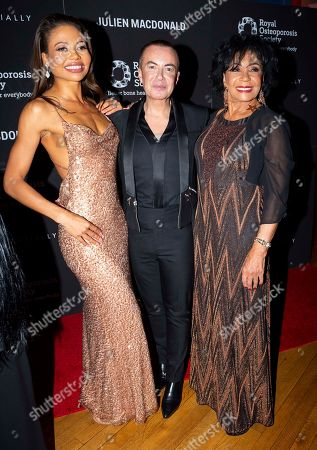 Viscountess Emma Weymouth, Julien MacDonald and Dame Shirley Bassey