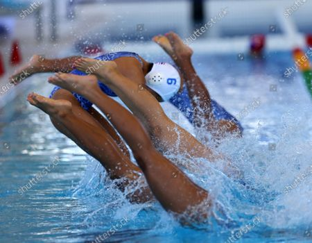 Thailand water polo players jump in the water at the beginning of the SEA Games 2019 Water Polo Women's Double Round Robin match between Philippines and Thailand at the New Clark City Aquatics Center in Capas, Philippines, 28 November 2019. The SEA Games 2019 is expected to hold its opening ceremony on 30 November 2019.