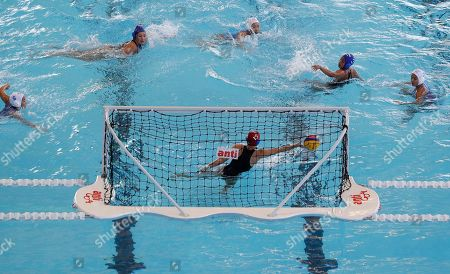 Philippines Haden Skye Alysabeth tries to block the ball during their 1st round robin water polo women's match against Thailand at the 30th South East Asian Games at the New Clark City, Tarlac province, northern Philippines on . Thailand won 32-5