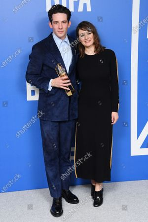 Josh O'Connor - Best Actor - Only You, holding the BIFA trophy, created by Swarovski, presented by Emily Mortimer