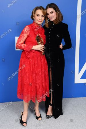 Kristin Scott Thomas - Richard Harris Award, holding the BIFA trophy, created by Swarovski, presented by Lily James