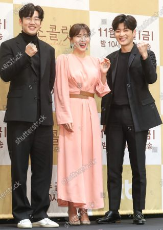 South Korean actors Yoon Kye-sang, Ha Ji-won and Jang Seung-jo, who star in the local cable channel tvN's new drama  'Chocolate,' pose during a showcase at a hotel in Seoul, South Korea, 28 November 2019. The first episode of the drama will air on 29 November.