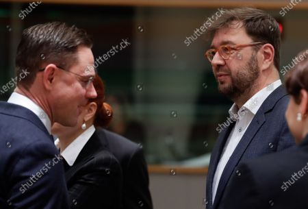 European Commission Vice-President for Jobs, Growth, Investment and Competitiveness Jyrki Katainen (L) and Timo Harakka, Minister of Employment of Finland attend a Competitiveness Council at the European Council in Brussels, Belgium, 28 November 2019.