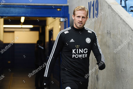 Goal keeper Kasper Schmeichel of Leicester City arrives at the stadium.