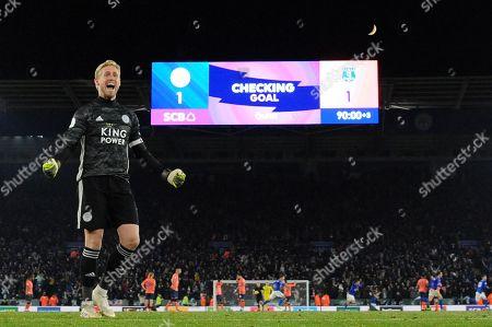 Goal keeper Kasper Schmeichel of Leicester City celebrates the winning goal.