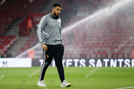 Troy Deeney of Watford looks at the pitch.