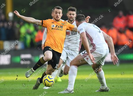 Diogo Jota of Wolverhampton Wanderers and Jack O'Connell of Sheffield United (right)