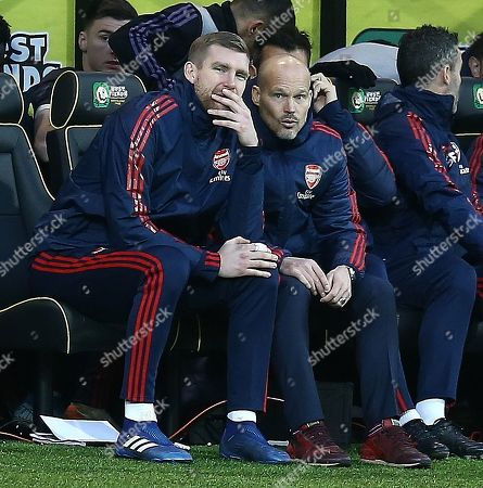Per Mertesacker manager of the Arsenal Academy and Freddie Ljungberg interim manager of Arsenal