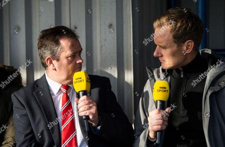 Dan Walker (rt) presents BBC Football Focus interviewing Hayden Birdmanager of Kingstonian