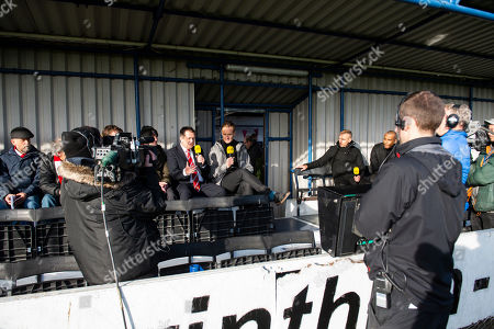 Stock Picture of Dan Walker presents BBC Football Focus interviewing Hayden Birdmanager of Kingstonian