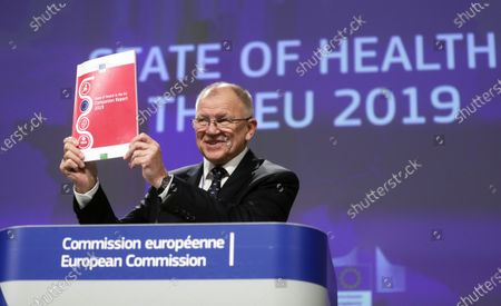 EU Commissioner in Charge of Health Vytenis Andriukaitis presents State of Health in the EU report 2019 during a news conference  in Brussels, Belgium, 28 November 2019.