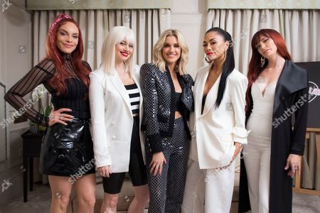 Stock Picture of Carmit Bachar, Kimberley Wyatt, Ashley Roberts, Nicole Scherzinger, Jessica Sutta. Band members Carmit Bachar, from left, Kimberley Wyatt, Ashley Roberts, Nicole Scherzinger and Jessica Sutta, of the Pussycat Dolls, pose for portraits at a central London hotel, following an interview with the Associated Press, before they reunite for The X Factor: Celebrity final