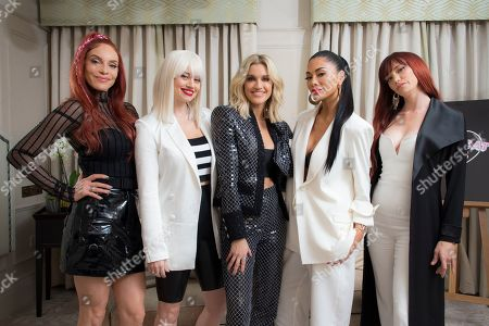 Stock Image of Carmit Bachar, Kimberley Wyatt, Ashley Roberts, Nicole Scherzinger, Jessica Sutta, Pussycat Dolls. Band members from left to right Carmit Bachar, Kimberley Wyatt, Ashley Roberts, Nicole Scherzinger and Jessica Sutta, of the Pussycat Dolls, pose for portraits at a central London hotel, following an interview with the Associated Press - before they reunite for The X Factor: Celebrity final this weekend