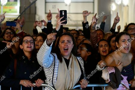 Protestors shout slogans on the second day of a demonstration outside Malta's prime minister's office in Valletta, Malta, . On Wednesday, Nov. 28, 2019 Maltese police arrested Prime Minister Joseph Muscat's former chief of staff Keith Schembri for questioning as a person of interest in the murder of journalist Daphne Caruana Galizia