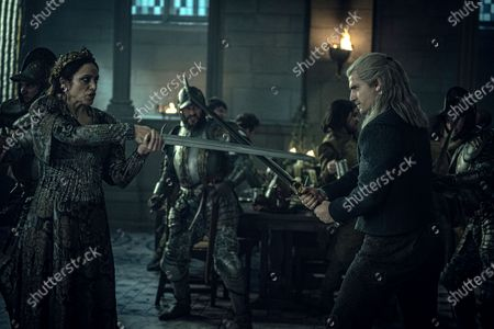 Jodhi May as Queen Calanthe and Henry Cavill as Geralt of Rivia