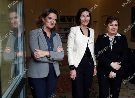 Spanish Ecological Transition Minister, Teresa Ribera (L), her Chilean counterpart, Carolina Schmidt (C), and UNFCCC Executive Secretary, Patricia Espinosa (R), meet at Ecological Transition Ministry in Madrid, Spain, 28 November 2019. UN Climate Change Conference COP25 will run from 02 to 13 December in Madrid.