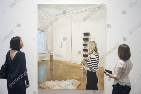 """Staff members view """"It Is Enough I'm Delighted, Don't Make Me Understand It"""", 2019, by Marcin Maciejowski. First look of """"Private View"""" by Polish artist Marcin Maciejowski at Galerie Thaddeus Ropac in Mayfair. The artist's first London exhibition features new large-scale paintings and graphic works on paper merging comic-book and Old Master traditions. The show runs 28 November to 25 January 2020."""