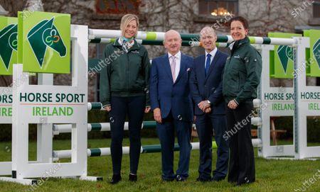 Stock Image of Kate Dwyer, Dressage, Joe Reynolds, Horse Sport Ireland Chairman, Ronan Murphy, Horse Sport Ireland CEO and Anna Merveldt, Dressage