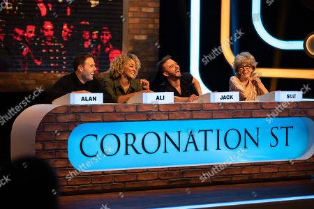 Alan Halsall, Alexandra Mardell, Jack P Shepherd and Sue Nicholls.