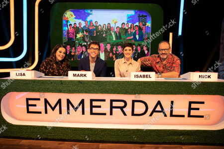 Stock Photo of Lisa Riley, Mark Charnock, Isabel Hodgins and Nick Miles.