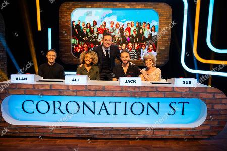 Alan Halsall, Alexandra Mardell, Stephen Mulhern, Jack P Shepherd and Sue Nicholls.