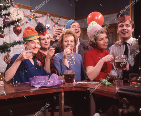 Eileen Derbyshire (as Emily Nugent), Betty Alberge (as Florrie Lindley), Doreen Keogh (as Concepta Hewitt), Ivan Beavis (as Harry Hewitt), Anne Reid (as Valerie Barlow) and William Roache (as Ken Barlow) Coronation Street Christmas in Colour - 1963