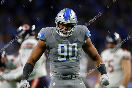 Detroit Lions defensive end Trey Flowers reacts after a play during the second half of an NFL football game against the Chicago Bears, in Detroit
