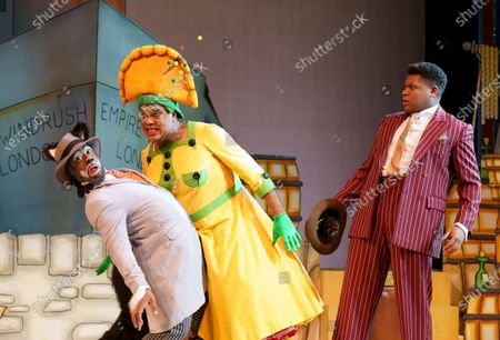 Stock Picture of Kat B as Uncle Vincent the Cat, Clive Rowe as Sarah the Cook, Tarinn Callender as Dick