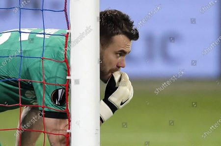 Goalkeeper of CSKA Moscow Igor Akinfeev reacts during the UEFA Europa League group H soccer match between CSKA Moscow and Ludogorets in Moscow, Russia, 28 November 2019.