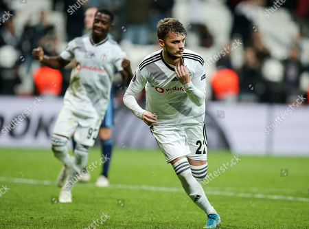Stock Photo of Besiktas' Adem Ljajic celebrates after scoring the decisive goal in additional time during the Europa League group K soccer match between Besiktas and Slovan Bratislava at the Besiktas Park in Istanbul