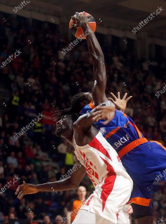 Valencia's Maurice Ndour (R) in action against Red Star's Mouhammad Faye (L) during the Euroleague basketball match between Red Star and  Valencia Basket in Belgrade, Serbia, 28 November 2019.