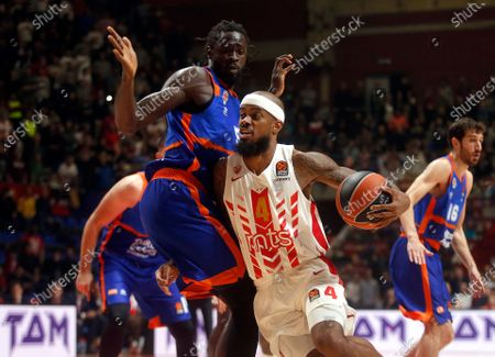 Red Star's Lorenzo Brown (R) in action against Valencia's Maurice Ndour (L) during the Euroleague basketball match between Red Star and  Valencia Basket in Belgrade, Serbia, 28 November 2019.