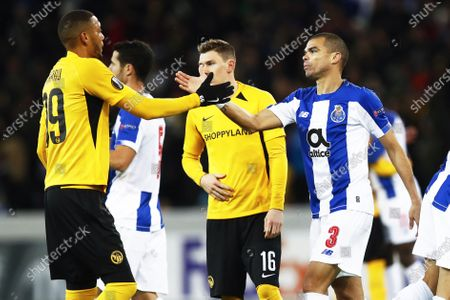 Young Boys' Guillaume Hoarau (L) and Porto's Pepe (R) shake hands after the UEFA Europa League group G soccer match between BSC Young Boys and FC Porto in Berne, Switzerland, 28 November 2019.