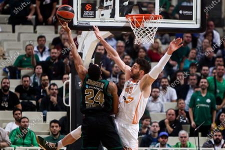 Stock Photo of Tornike Shengelia of Baskonia (R) in action against  Wesley Johnson of Panathinaikos (L) during the Euroleague basketball match Panathinaikos Athens vs Baskonia at OAKA Stadium in Athens, Greece, 28 November 2019