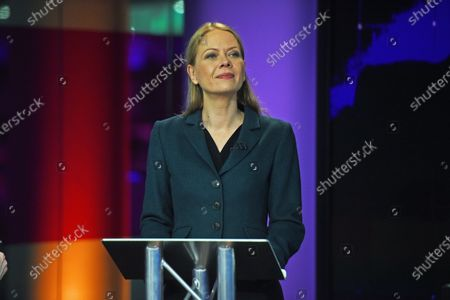 Green Party Co-Leader Sian Berry, in the studio before the start of the Channel 4 News' General Election climate debate at ITN Studios in Holborn, central London, Britain, 28 November 2019.