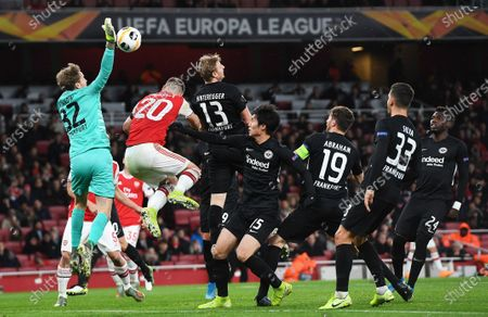 Goalkeeper Frederik Ronnow (L) of Frankfurt makes a clearance during the UEFA Europa League Group F match between Arsenal London and Eintracht Frankfurt in London, Britain, 28 November 2019.