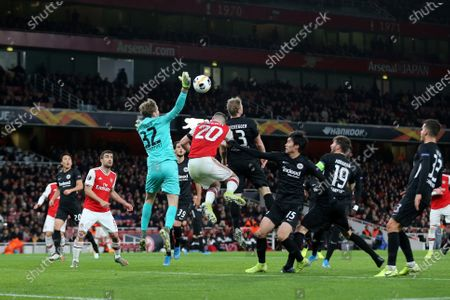 Eintracht Frankfurt goalkeeper, Frederik Ronnow punches the ball away during Arsenal vs Eintracht Frankfurt, UEFA Europa League Football at the Emirates Stadium on 28th November 2019