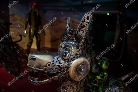 A scuplture of the Donkey from the film Shrek made of used car spare parts is seen at an exhibition of the Amazing Metal Art Gallery in Budapest, Hungary, 28 November 2019.