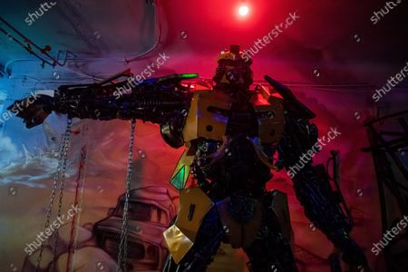 A scuplture of the robot of the film Bumblebee made of used car spare parts is seen at an exhibition of the Amazing Metal Art Gallery in Budapest, Hungary, 28 November 2019.