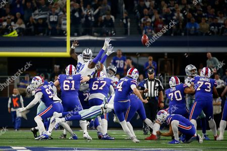 Buffalo Bills place kicker Stephen Hauschka (4) attempts a fieldworker goal in the first half of an NFL football game against the Dallas Cowboys in Arlington, Texas, . Hauschka missed on the attempt