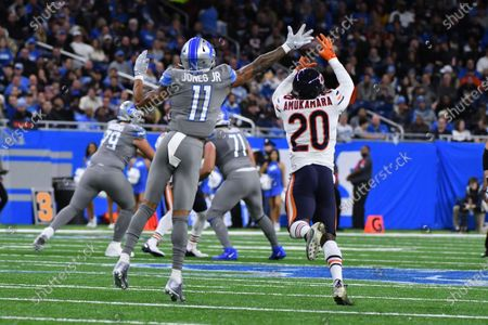 DETROIT, MI - : Detroit Lions WR Marvin Jones Jr. (11) acts as a defender against Chicago Bears CB Prince Amukamara (20) when an intended pass was off the mark during NFL game between Chicago Bears and Detroit Lions on at Ford Field in Detroit, MI